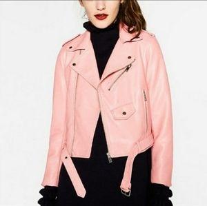 Zara Pink Faux leather jacket- size M